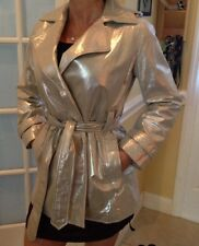 r Genuine Leather Coat Size 0 silver new sexy