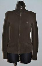 WOMENS GANT JUMPER ZIP CARDIGAN COTTON FUNNEL NECK BROWN SIZE XS XSMALL VGC