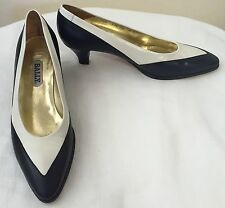 Bally Black & White Leather Heels Spectator Pumps - Classic Vintage!  Size  9 M