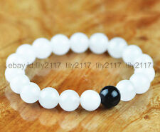 A+ 10mm White Jade & Black agate Gemstone Beads Bangle Stretchy Bracelet 7.5""