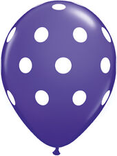 "10 pc - 11"" Qualatex Big Polka Dot Purple Violet Latex Balloon Party Decoration"
