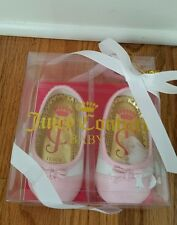 JUICY COUTURE Pink White slip on Bow flats Size 2 (3/6M) Infant Baby Shoes NIB