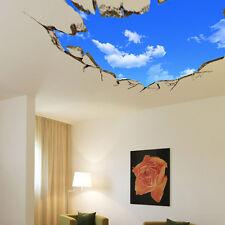 3D Blue Sky Broken Wall Mural Removable Wall Sticker Art Vinyl Decals Room Decor