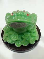 Chinese Wealth Lucky Money Coin Frog Toad Green Color Statues