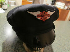 VINTAGE STYLE BIKER ROAD CAPTAIN'S HAT/CAP - HARLEY BAR & SHIELD WING PATCH !!