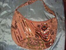 Pure Cotton Peach Canvas Sequinned Bag (Made in India label)