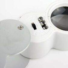 40x 25mm Glass Magnifying Magnifier Jeweler Eye Jewelry Loupe Loop LED