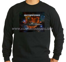 Star Trek: Enterprise LONG SLEEVE T-SHIRT NX-01 Bursting Thru Space on Black XL!