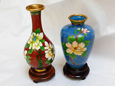 VINTAGE CHINESE CLOISONNE ENAMEL VASE with stand, lot of 2