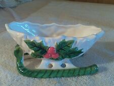 VINTAGE CHRISTMAS SLEIGH PLANTER CANDY DISH HOLLY BERRIES  LEFTON #5048