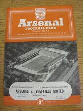 11/09/1954 Arsenal v Sheffield United  (Neat Match Details Noted On Cover/Inside