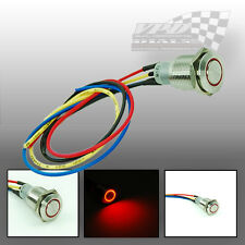 12v 6A RED  ON-OFF PUSH BUTTON LIGHT SWITCH STAINLESS STEEL FOR DASHBOAD PANEL