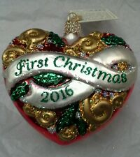 "Old World Christmas ""First Christmas Heart"" 2016 Ornament-GLASS OWC 1st"