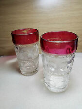 Vintage Ruby Red Kings Crown Thumbprint glasses