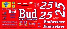 #25 Kenny Schrader Budweiser Chevrolet 1/25th - 1/24th Scale Waterslide Decals