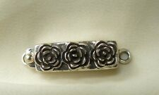 "Sterling Silver Box Clasp Single Strand 3-Rose Design 1"" long"
