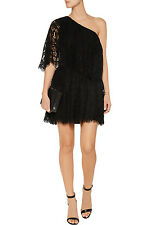 NWT $475 ALEXIS Maji One-Shoulder Lace Mini Dress in Black Sz.S