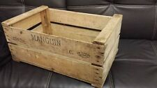 "2 x VINTAGE WOODEN ""MANGUIN"" PEAR FRUIT CRATES RUSTIC OLD BUSHEL BOX SHABBY CHIC"