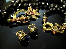 HEIDI DAUS BLACK Glass Lily Flower Crystals Necklace Bracelet & Earrings