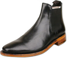 Mens Black Full Leather Slip On Chelsea Ankle Fashion Boots UK Size 9