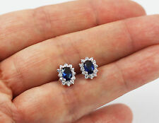 Pretty Solid 925 Sterling Silver, Cut Blue Sapphire,CZ Stud Earrings jewellery