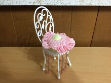 Barbie Doll Fashion Fever Crystal Vanity Chair & Pillow Bedroom Home Furniture