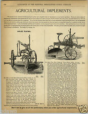1892 PAPER AD The National Two Three Wheel Sulky Plow Farm Farming Equipment
