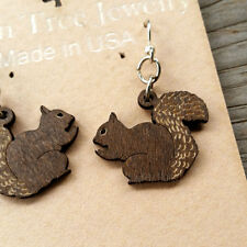 SQUIRREL Brown laser-cut wood earrings Green Tree Jewelry made-in-USA 1030