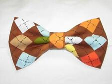 (1) PRE-TIED BOW TIE - CHOCOLATE ARGYLE-BLUE, GREEN, YELLOW, ORANGE & BROWN