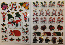 CHRISTMAS STICKERS x2 sheets, metallic *TOP QUALITY* Father Christmas & Snowmen