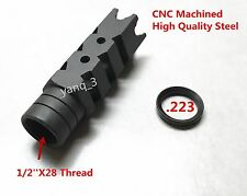 "1/2""x28 TPI Thread Shark Muzzle Brake,Free Crush Washer"