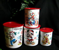 Tupperware NEW  One Touch Christmas Disney Canister Canisters Set RED Seals