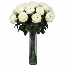 Nearly Natural 1219-WH Fancy Rose Silk Flower Arrangement- White