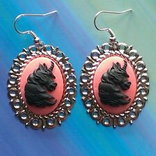 Magical Unicorn Horse Black on Pink Cameo Earrings Mythical Legendary Creature