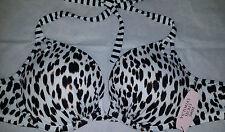 NWT Victoria's Secret SWIM 32B push-up bra Halter Bikini Top Black White Cheetah