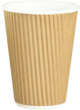 50 x Disposable 8oz Insulated Plain Kraft Paper Tea Coffee Hot Drinks Cups