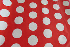 Cath Kidston Red Spot PVC Oilcloth Tablecloth Fabric - Approx 130cm x 2.0M