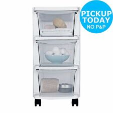 HOME 3 Drawer Slim Tower Plastic Storage Unit - White :The Official Argos Store