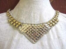 "9 1/2"" **CRYSTAL RHINESTONE & GOLD STUDS** Neckline Applique IRON-ON EASE!!"