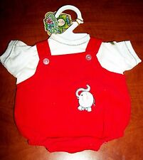 CABBAGE PATCH KIDS  VINTAGE BOY RED CORD ELEPHANT SHORTS OVERALLS & SHIRT NEW!!