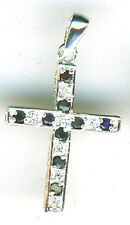 925 Sterling Silver Cubic Zirconia Double Sided Cross Pendant Clear & Sapphire