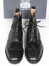 NEW Jack Wills RICKFORD Black Grained Leather Brogue Boots UK 10  RRP £229