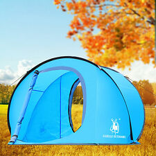 Large Pop Up  Camping Hiking Tent Automatic Instant Setup Easy Fold back - Blue