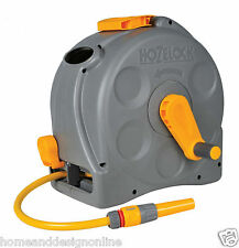 Hozelock 2415 2in1 Compact Enclosed Hose Reel Free Standing Wall Mounted Hoze