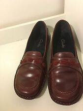 Clarks Red Leather Loafers Size 8