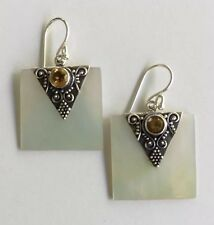 Pure 925 Sterling Silver Mother Of Pearl Earrings With Gemstones