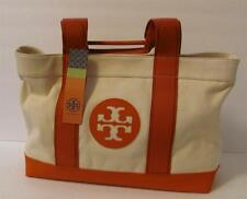 Tory Burch Beach Tote Watermelon natural red tan canvas logo snap large beige