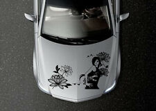 CAR HOOD VINYL DECAL ART STICKER GRAPHICS CUTE FASHION GIRL WITH FLOWERS OS530