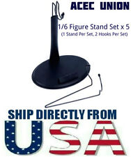 U.S. SELLER 5 X 1/6 Scale Action Figure Toys Stand with Name Plate Two Hooks