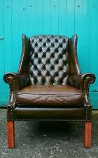 Genuine Antique vintage Post War Brown leather chesterfield wing arm chair c1950